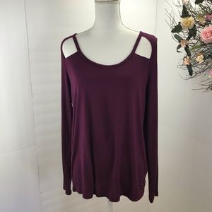 PINK super soft cut out long sleeve top burgundy